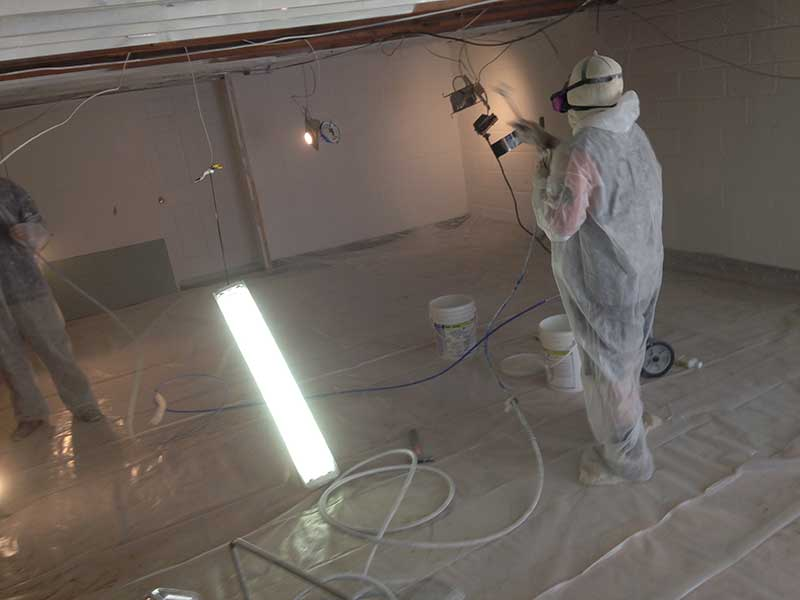 Properly contained mold remediation work area