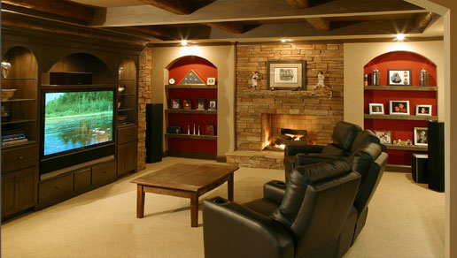 Finished basement with cool furniture