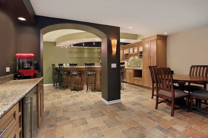 Customized basement with imported Italian tile floors