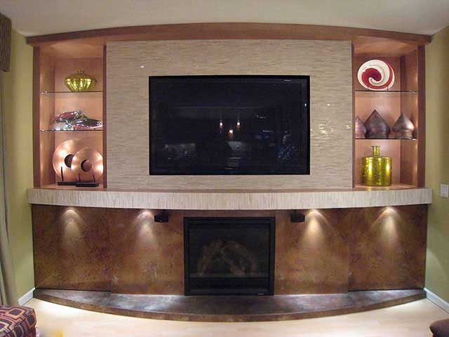 A digital fireplace right under an in-wall TV - this one was fun!