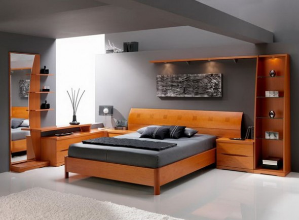 Modern wood design downstairs bedroom
